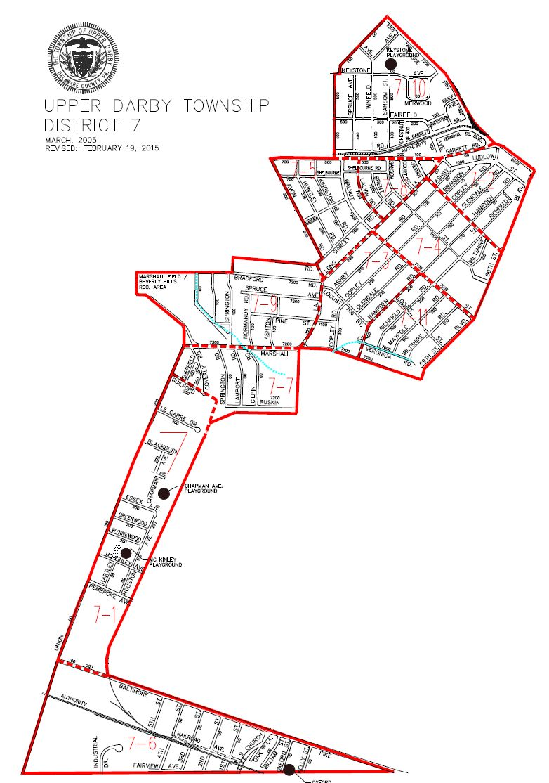 map of Upper Darby Township District 7